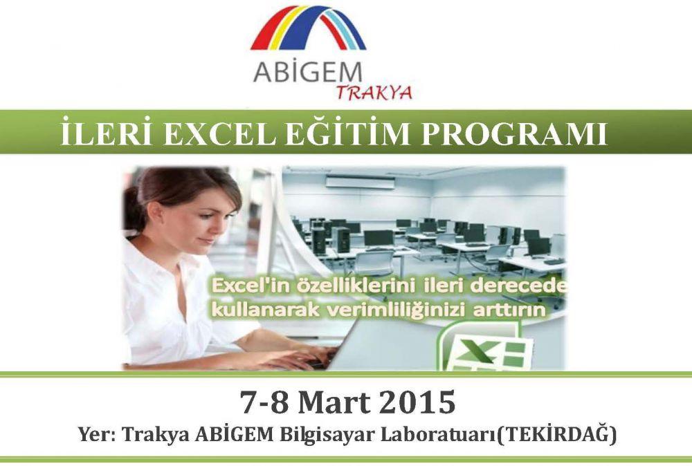 �leri Excel E�itimi 7-8 Mart 2015