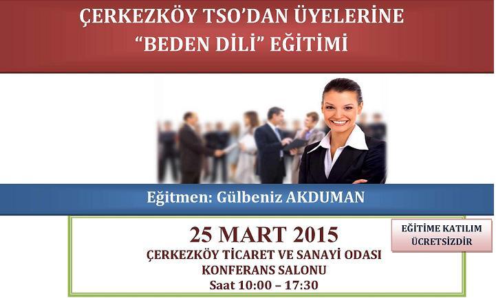 �erkezk�y TSO'dan �yelerine  'Beden Dili' E�itimi  25 Mart 2015